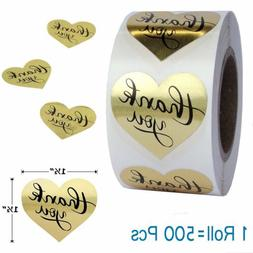 1 Roll Love Heart Shape Gold Foil Thank You Stickers Easy-pu