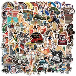 100Pcs Retro Girls Stickers Decals for Motorcycle Luggage La