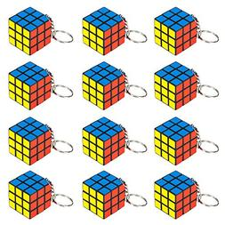 "12 Piece Party Pack of Mini 1.25"" Puzzle Cube Keychains by P"