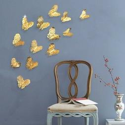 12 Pcs 3D Butterfly Wall Stickers PVC Children Room Decal Ho