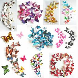 24Pcs 3D Butterfly Wall Stickers Magnetic Decals Home Room D