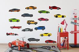 Flyboy Toys 16 Cartoon Cars Peel & Stick Vinyl Wall Decals/S