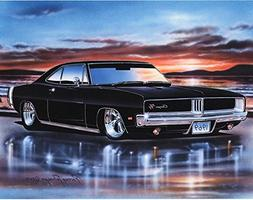 1969 Dodge Charger RT Muscle Car Art Print Black 11x14 Poste