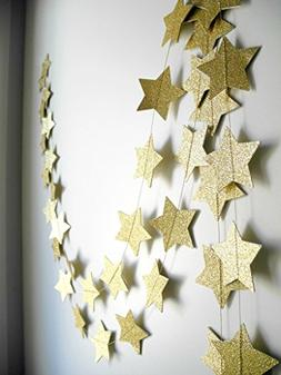 2-Pack,Gold star Garland, Golden Christmas galaxy banner, Tw