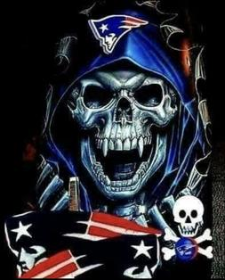 New England Patriots Death Skull Vinyl Stickers 4.75x3.8 Ca