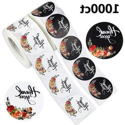 DREAMYHOUSE2 Rolls 1000 Round Floral ''Thank You'' Sticker
