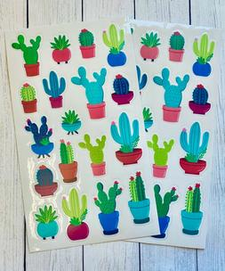 2 Sheets Cactus Succulents Stickers Papercraft Planner Suppl