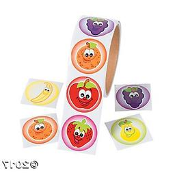 200 FRUIT Smile Face STICKERS - 2 Rolls of 100 - Apple Orang