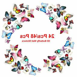 24/48PCS 3D Colorful Magnetic Butterfly Wall Stickers Kids R