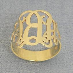 3 Initial Monogram Ring Solid 10k Yellow Gold Personalized M