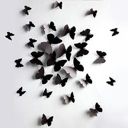 Sangu 3D Black Butterfly Removable Mural Wall Stickers Wall
