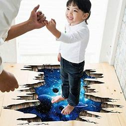 3D Blue Galaxy Wall Stickers- Universe Scene with Planets St