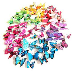 HDYD 72pcs 3d Butterfly Stickers Wall Stickers Crafts Butter