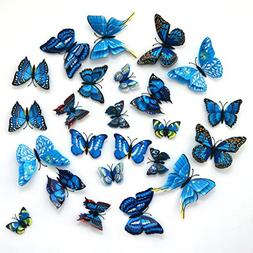 24-Pack Beautiful 3d Butterfly Wall Decals Removable Diy Hom