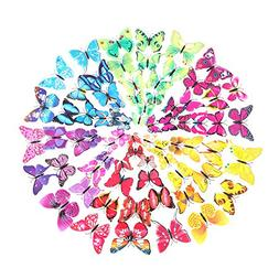 Wisehands 3D Butterfly Wall Decals72 Pcs 6 Packages with Spo