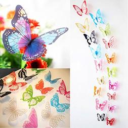 ElecMotive 36 Pcs 3D Color Crystal Butterfly Wall Stickers w