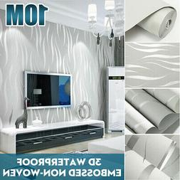 3D Embossed Waves Textured Non-woven 10M Living Room Bedroom