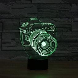 3D Led Optical Illusion 7 Colors Change Night Light Touch Bu