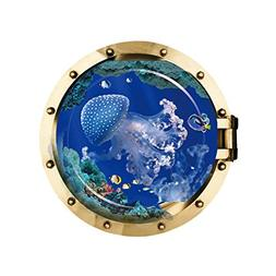 """Homefind 19.7""""x 19.7"""" 3D High Definition Porthole View Ocean"""