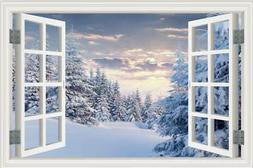 3D Removable Window View Winter White Snow Tree Wall Sticker