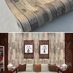3D Rustic Wood Wallpaper Vintage Vinyl Film Sticker Self-adh