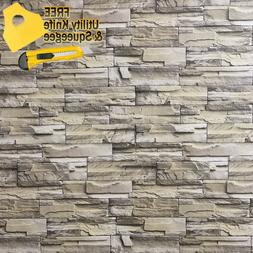 3D Stone Brick Wallpaper Background Modern Vinyl Film Sticke