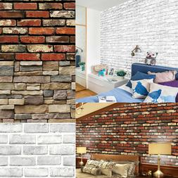 3D Wall Paper Brick Stone Rustic Effect Home Decor Self-adhe