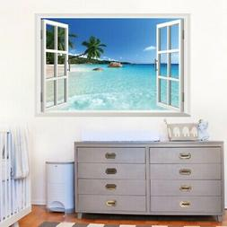 3D Wall Stickers Fake Window Seascape Wall Decals Mural Remo