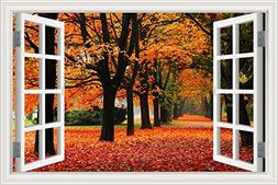 3D Window View Wall Sticker Autumn Red Maple Landscape Decal