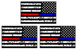 3PCS Police and Fire Dept. Blue/Red Line American Flag Stick