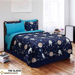 4 Piece Kids Sun Moon Stars Comforter Set, Outer Space Galax