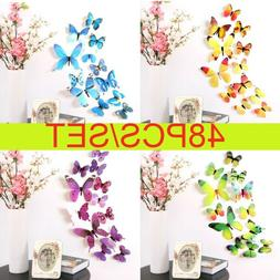 48PC/Set 3D Butterfly Wall Stickers Art Decal Home Room Deco