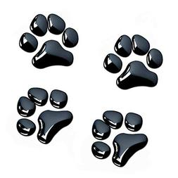 LZLRUN 4PCS Black 3D Chrome Dog Paw Footprint Sticker Decal