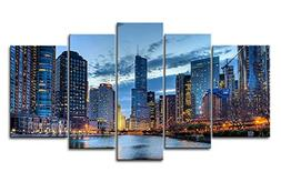 5 Panel Wall Art Painting Chicago Illinois Usa Pictures Prin