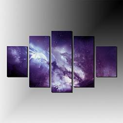 5 Panels Purple Angel Galaxy Canvas Print Painting Modern Ca