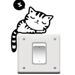 Cute Cat Nap Pet Light Switch Funny Wall Decal Vinyl Sticker