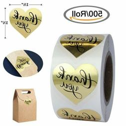 500/Roll Gold Foil Heart Shaped Thank you Stickers Envelope