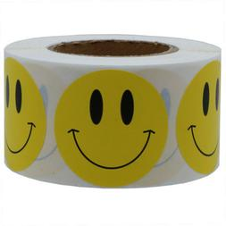 """500pcs 1.5"""" Yellow Smiley Face Happy Stickers Circle Teacher"""