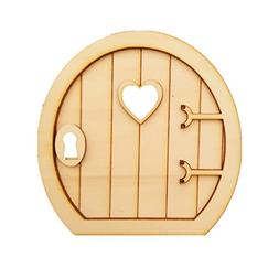 Dovewill 6 Sets Plain Wooden 3D Round Fairy Door Shape Craft