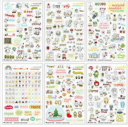 6 Sheet Pig Transparent Calendar Diary Note Book Sticker Scr
