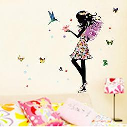 Alrens_DIYAngel Wings Beautiful Girl Flowers Butterfly DIY W
