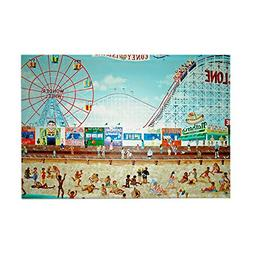 "CafePress - Coney Island Painting 1 - Rectangle Magnet, 2""x3"