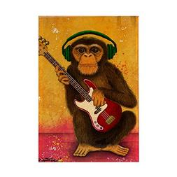 "CafePress - Funky Monkey Bass Player - Rectangle Magnet, 2""x"