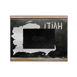 CafePress - Outline Map Of Haiti On Blackboard - Decorative