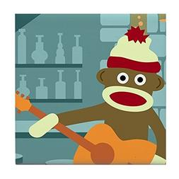 CafePress - Sock Monkey Acoustic Guitar Player Tile Coaster
