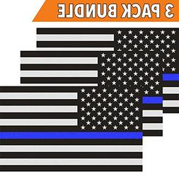 Classic Biker Gear Reflective Thin Blue Line Decal - 3x5 in.