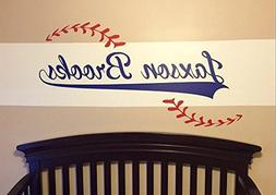 Custom Name added to Baseball Vinyl Wall Decal - Baseball th