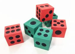 12 Pk Dice | Big Foam Green and Red Playing Dices | 1 Dozen