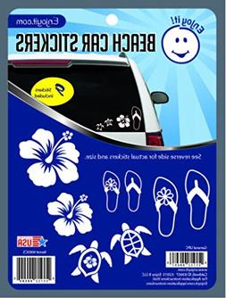 Enjoy It Beach Car Stickers, 9 pieces, Outdoor Rated Vinyl S