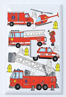 Fire Trucks Light Switch Plate Cover Single Toggle / Fire En